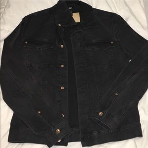 H&M men's faded vintage black denim jacket